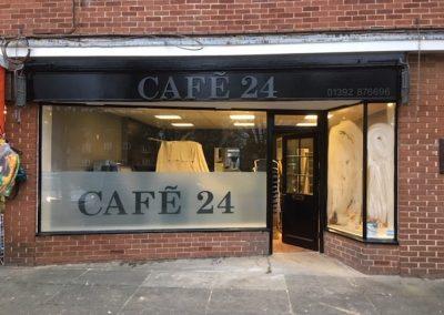 cafe 24 shopfront signs