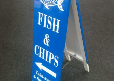fish and chips A sign