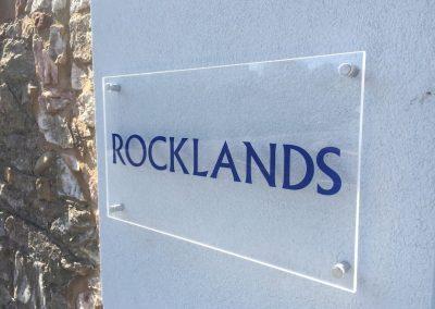 Rocklands acrylic sign
